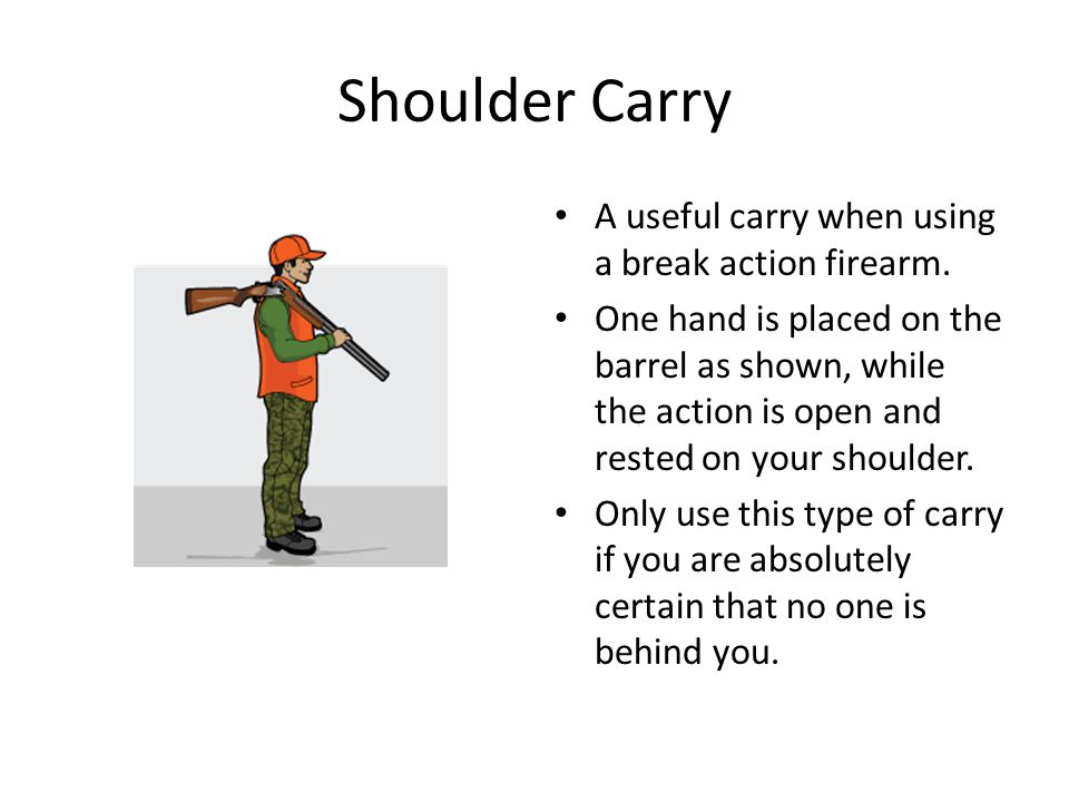 Shoulder Carry A useful carry when using a break action firearm.