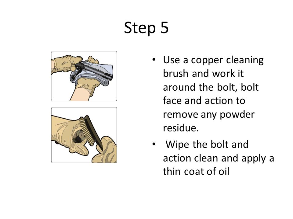 Use a copper cleaning brush and work it around the bolt, bolt face and action to remove any powder residue. Wipe the bolt and action clean and apply a thin coat of oil.