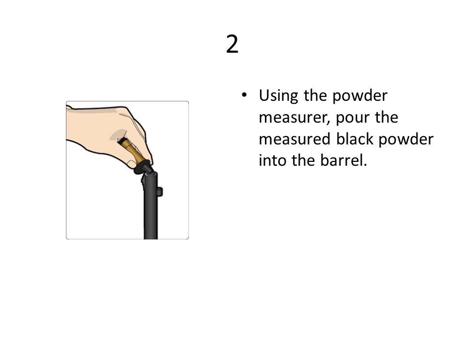 2 Using the powder measurer, pour the measured black powder into the barrel.
