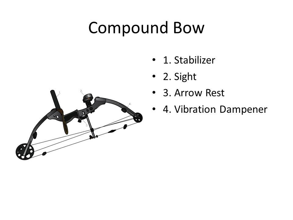 Compound Bow 1. Stabilizer 2. Sight 3. Arrow Rest
