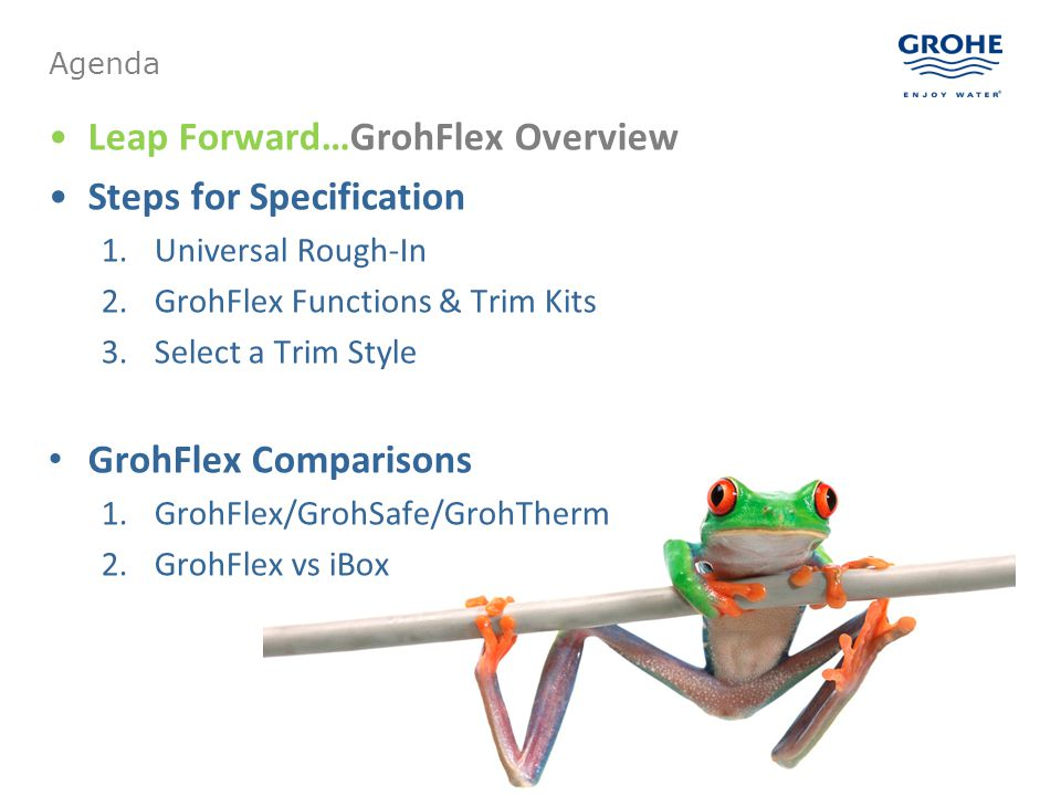 Leap Forward…GrohFlex Overview Steps for Specification