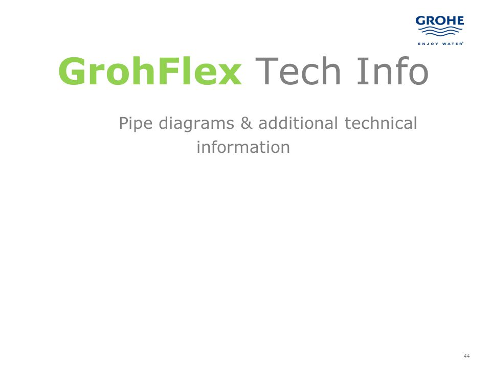 GrohFlex Tech Info Pipe diagrams & additional technical information