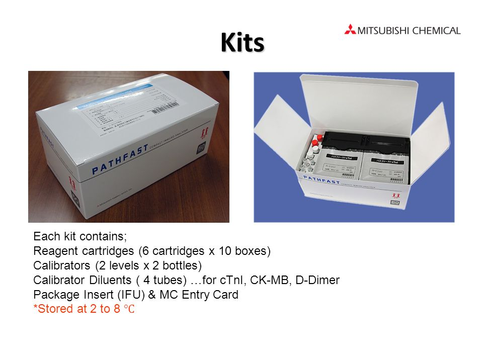Kits Each kit contains; Reagent cartridges (6 cartridges x 10 boxes)