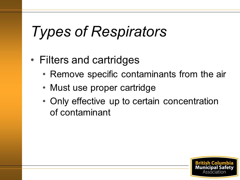 Types of Respirators Filters and cartridges