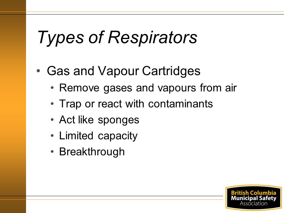 Types of Respirators Gas and Vapour Cartridges