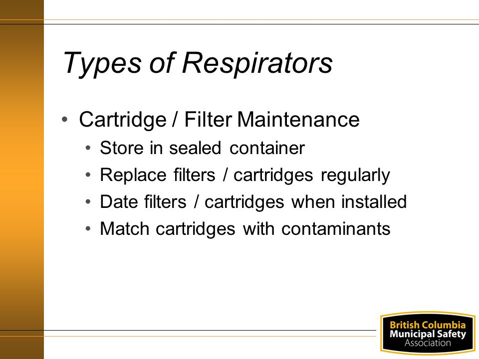 Types of Respirators Cartridge / Filter Maintenance
