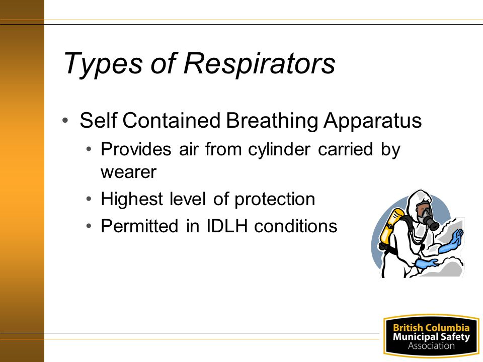 Types of Respirators Self Contained Breathing Apparatus