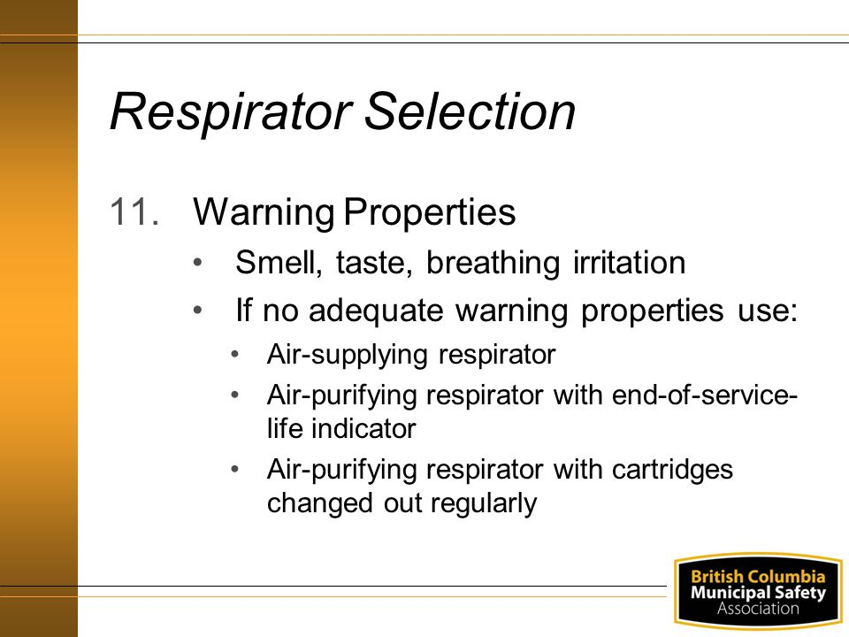 Respirator Selection Warning Properties