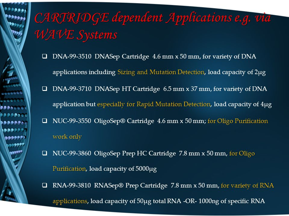 CARTRIDGE dependent Applications e.g. via WAVE Systems