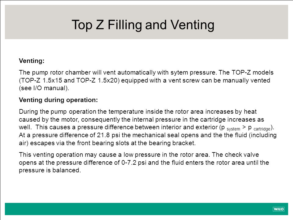Top Z Filling and Venting