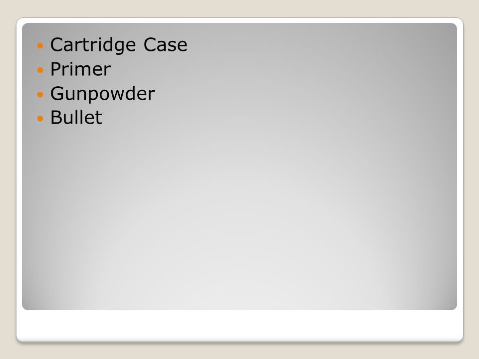 Cartridge Case Primer Gunpowder Bullet