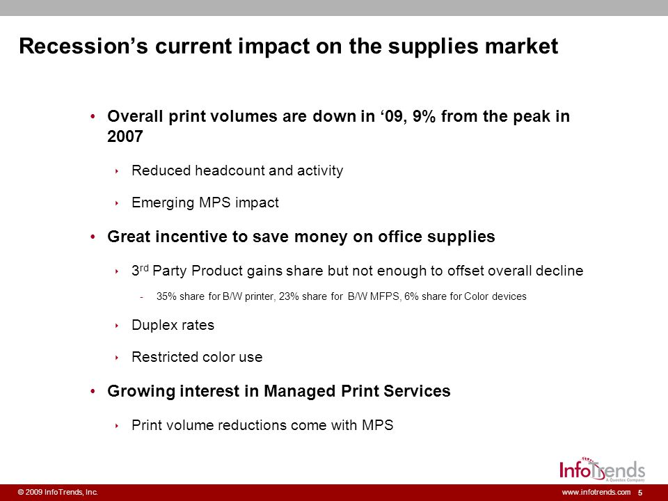 Recession's current impact on the supplies market