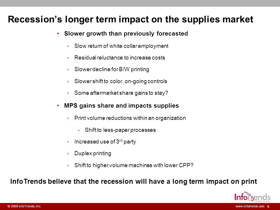Recession's longer term impact on the supplies market