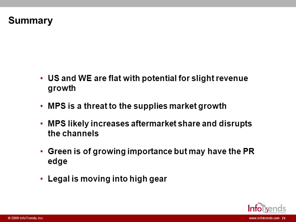 Summary US and WE are flat with potential for slight revenue growth