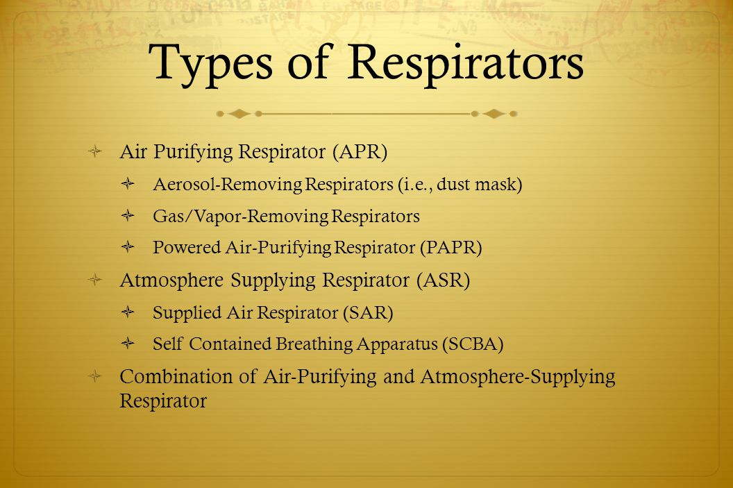 Types of Respirators Air Purifying Respirator (APR)