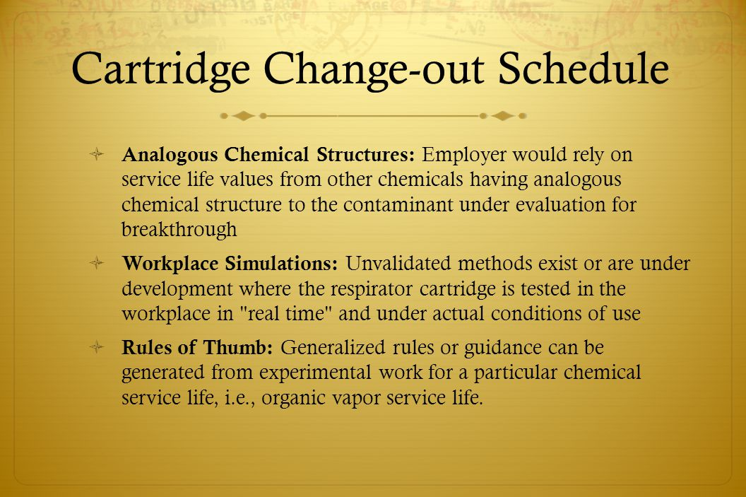 Cartridge Change-out Schedule