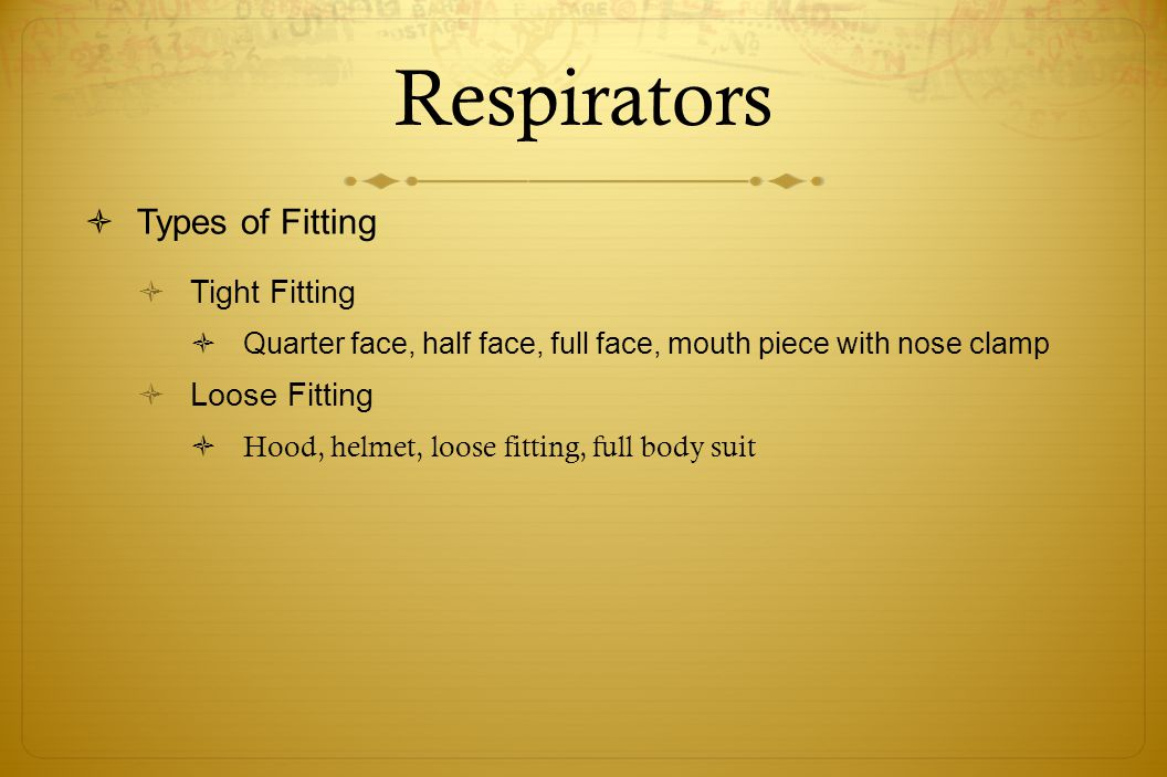 Respirators Types of Fitting Tight Fitting Loose Fitting
