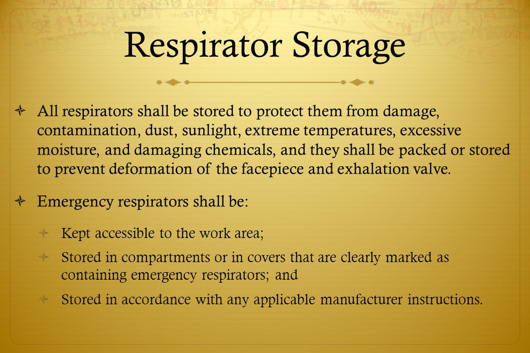 Respirator Storage