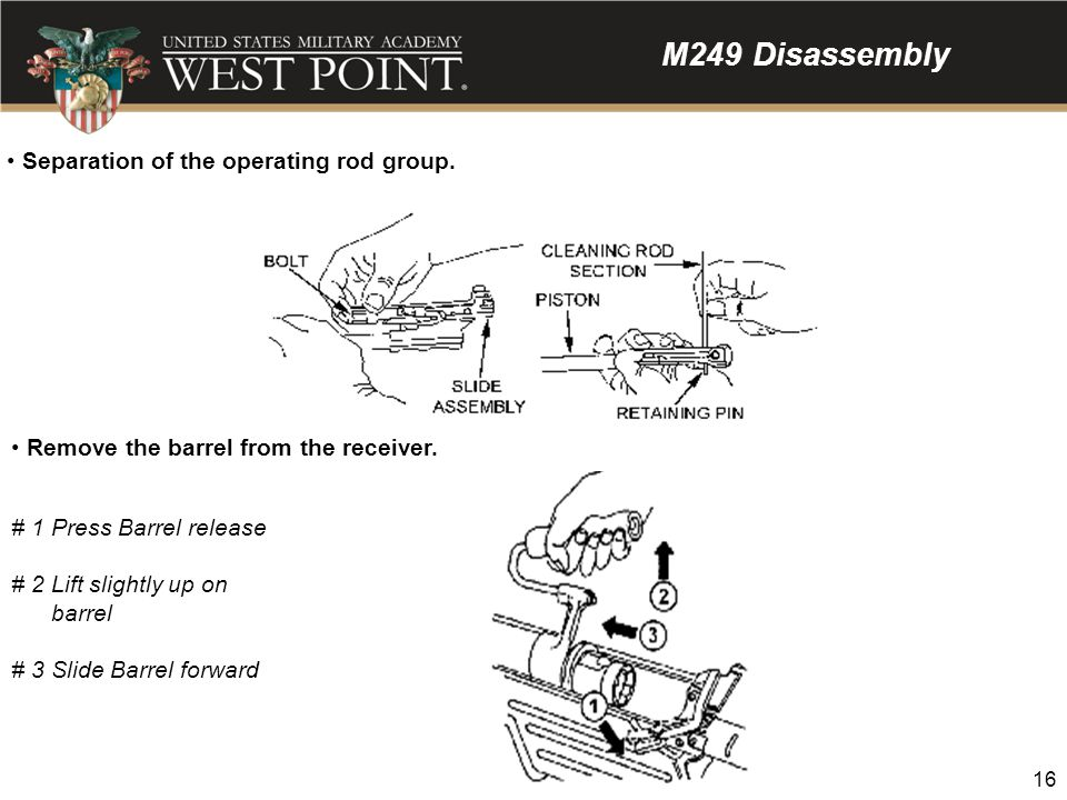 M249 Disassembly Separation of the operating rod group.