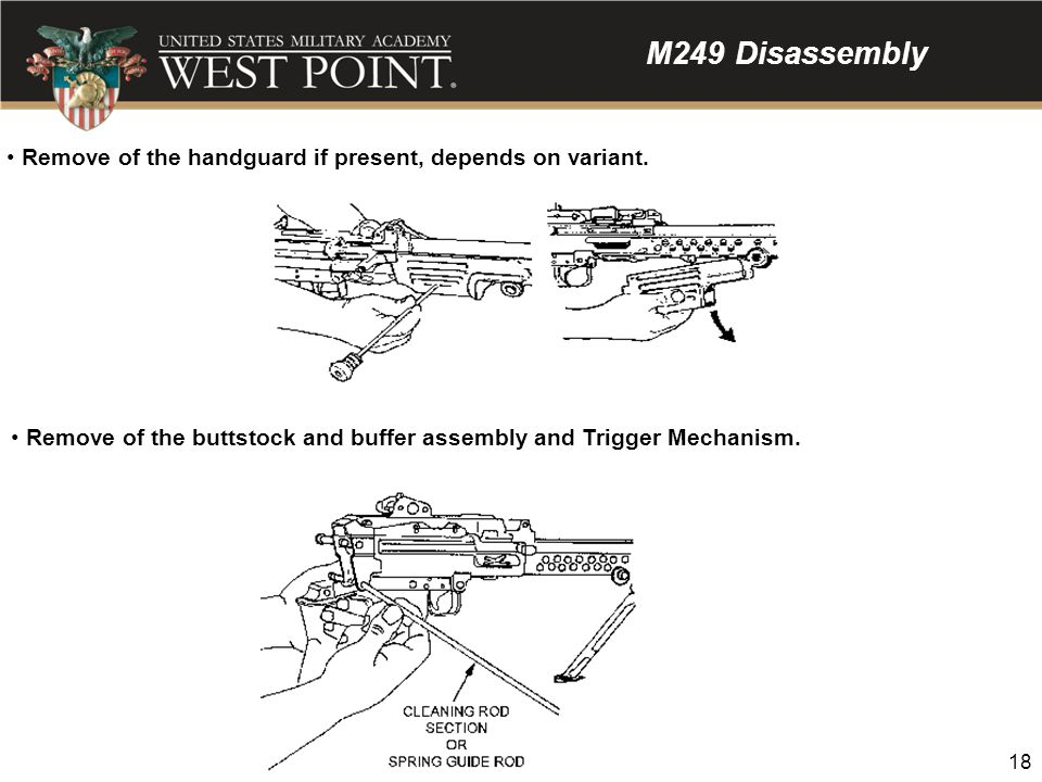 M249 Disassembly Remove of the handguard if present, depends on variant.