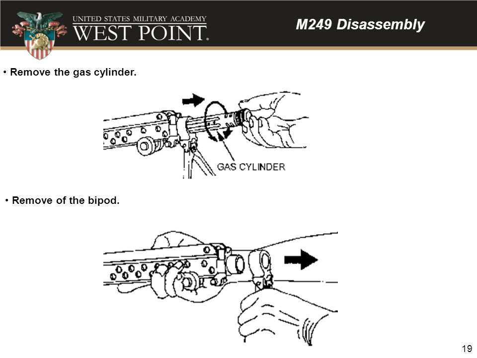 M249 Disassembly Remove the gas cylinder. Remove of the bipod.