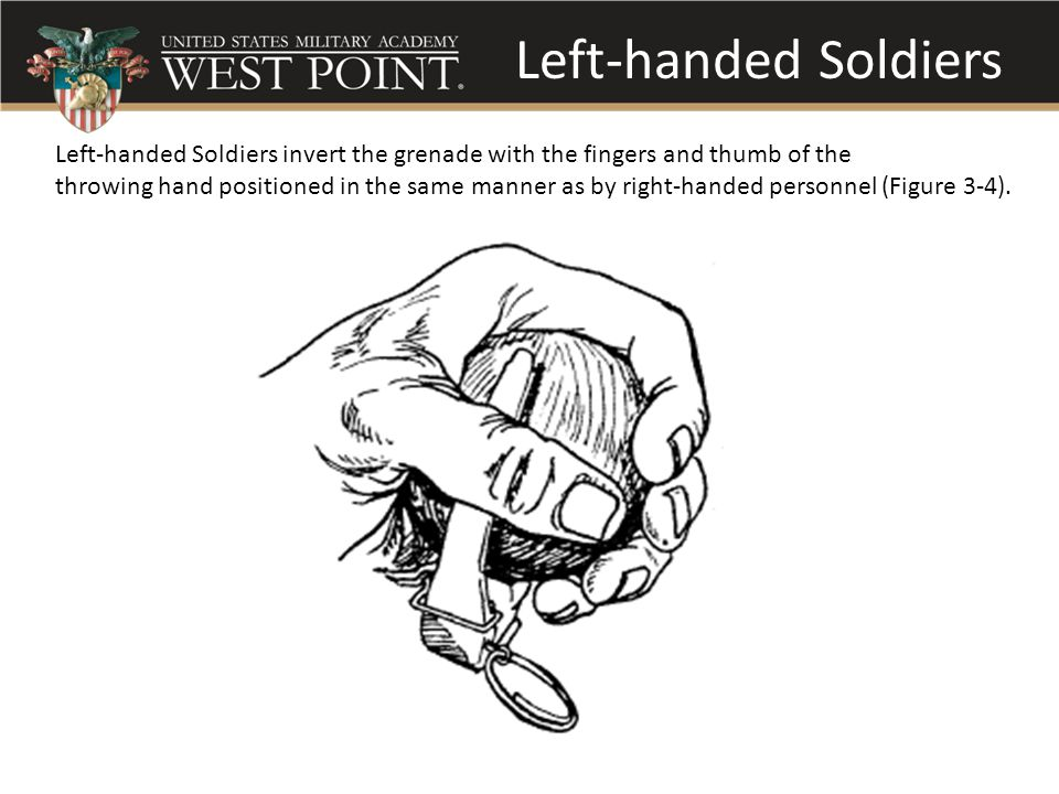 Left-handed Soldiers Left-handed Soldiers invert the grenade with the fingers and thumb of the.