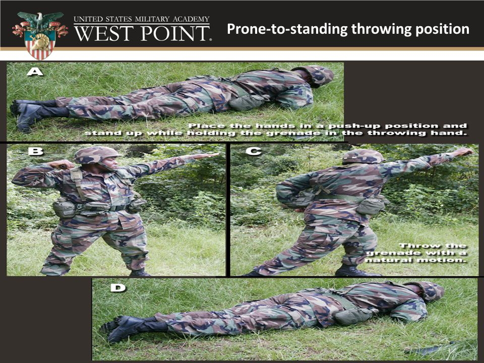 Prone-to-standing throwing position