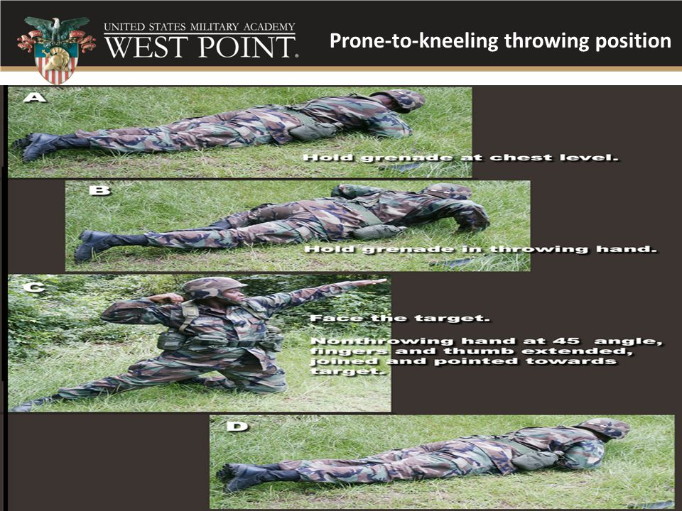 Prone-to-kneeling throwing position