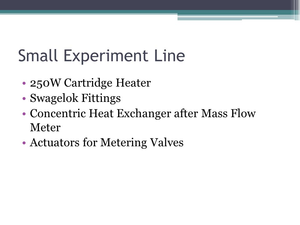 Small Experiment Line 250W Cartridge Heater Swagelok Fittings