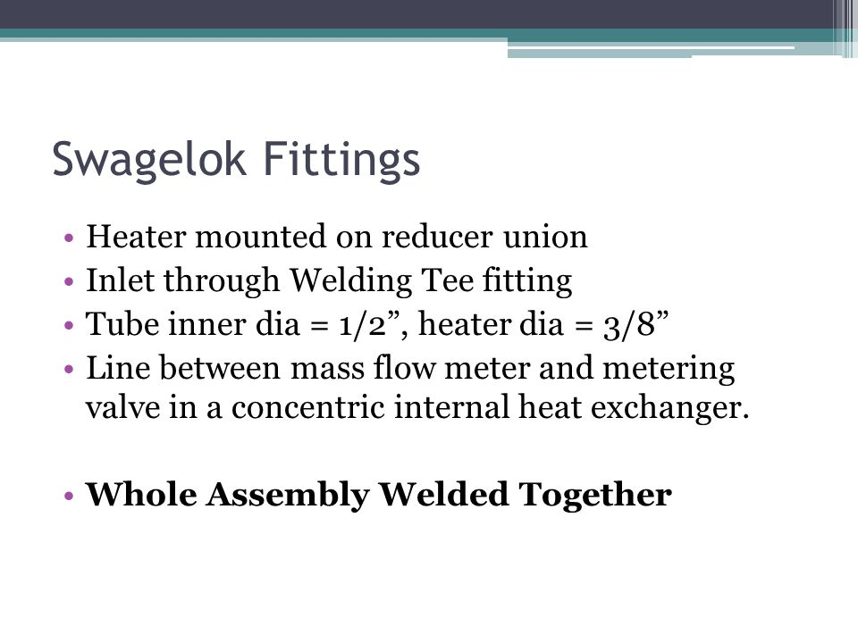 Swagelok Fittings Heater mounted on reducer union