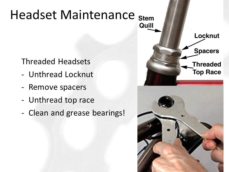 Headset Maintenance Threaded Headsets Unthread Locknut Remove spacers