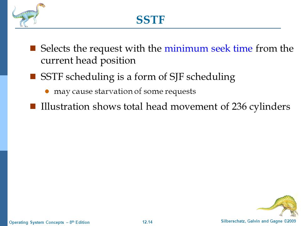 SSTF Selects the request with the minimum seek time from the current head position. SSTF scheduling is a form of SJF scheduling.