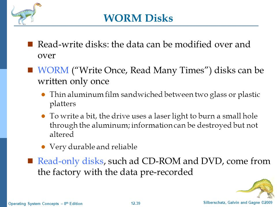 WORM Disks Read-write disks: the data can be modified over and over
