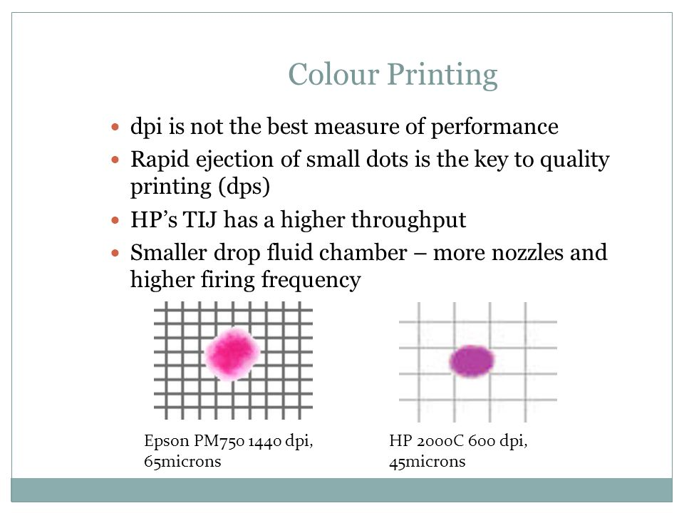 Colour Printing dpi is not the best measure of performance