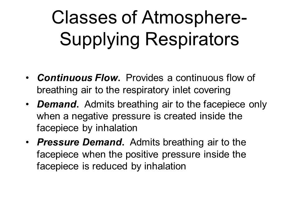 Classes of Atmosphere- Supplying Respirators