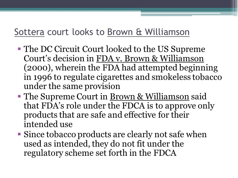 Sottera court looks to Brown & Williamson