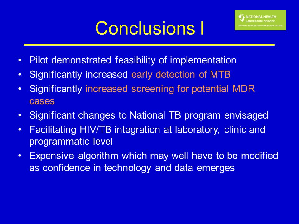 Conclusions I Pilot demonstrated feasibility of implementation