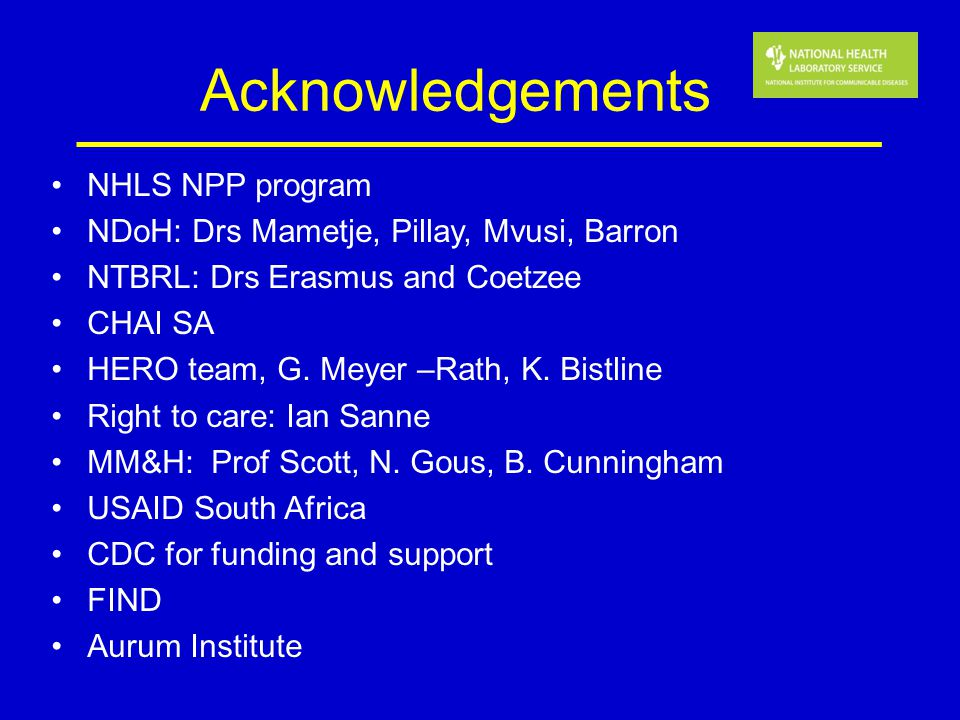 Acknowledgements NHLS NPP program