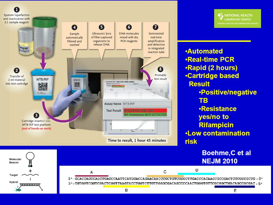 Automated Real-time PCR. Rapid (2 hours) Cartridge based. Result. Positive/negative TB. Resistance yes/no to Rifampicin.