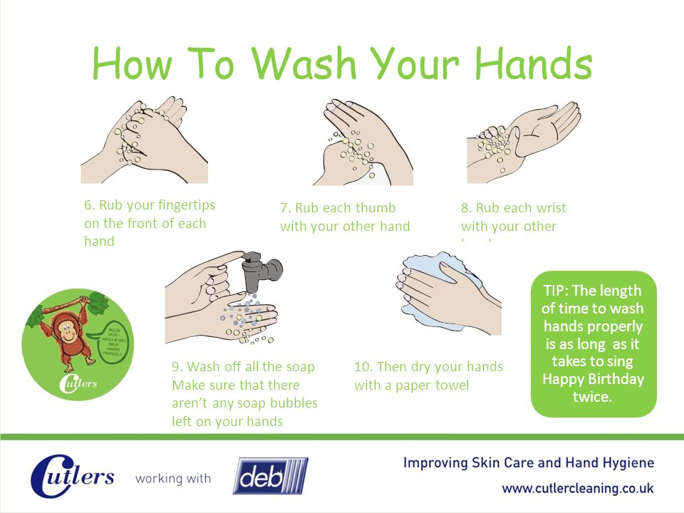 How To Wash Your Hands 6. Rub your fingertips on the front of each hand. 7. Rub each thumb with your other hand.