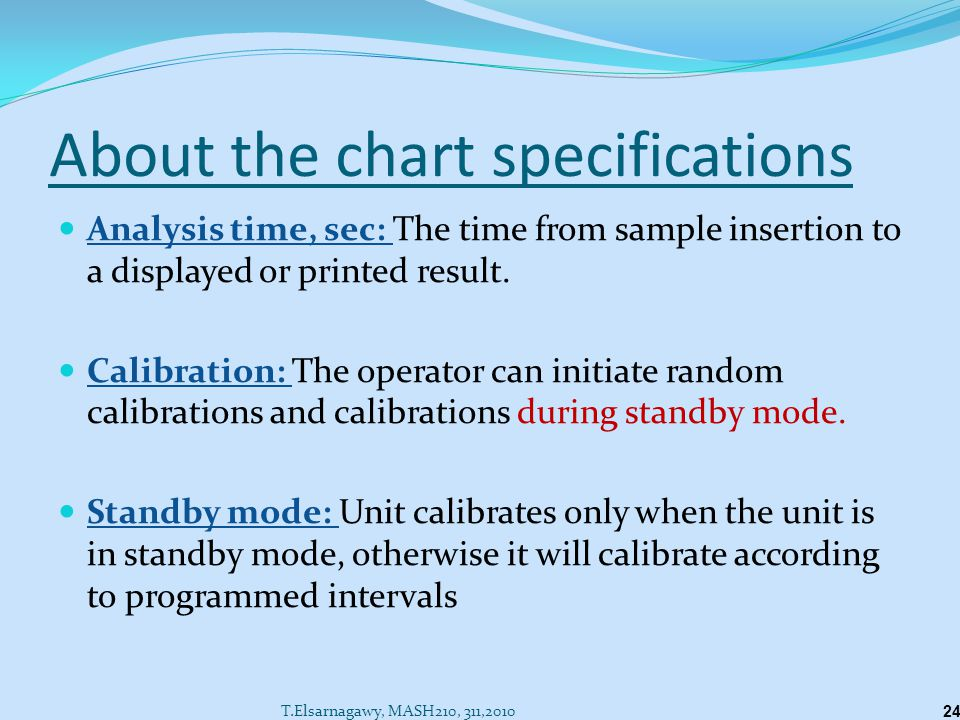 About the chart specifications