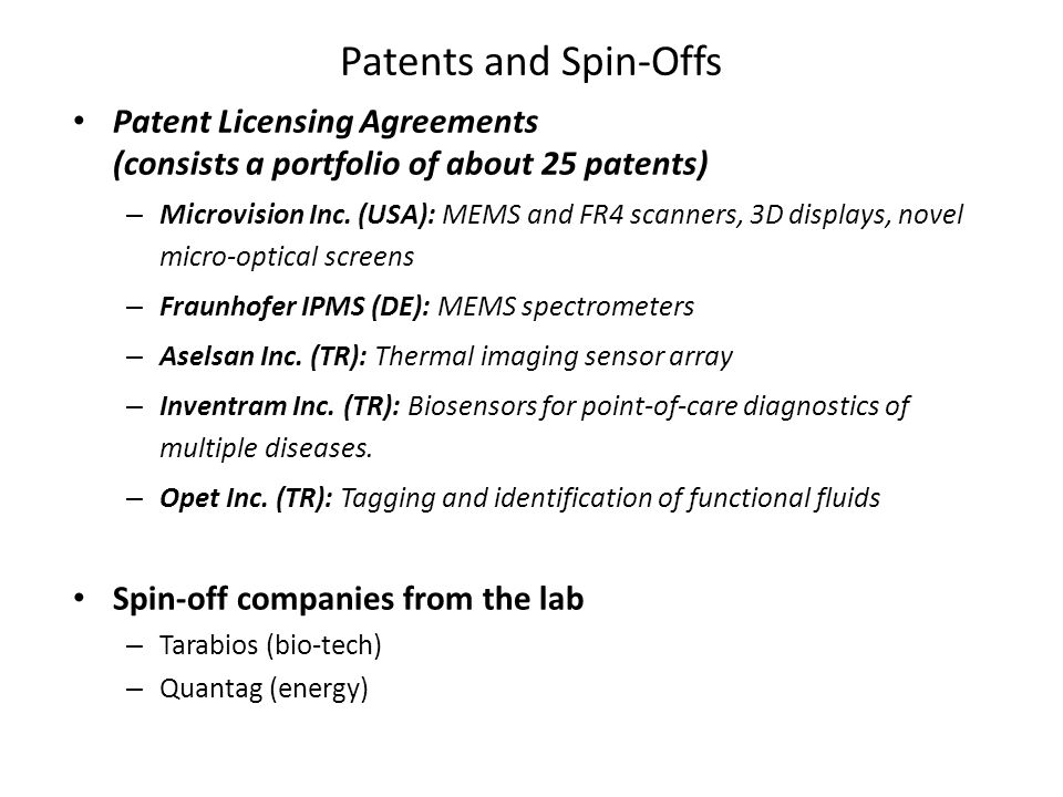 Patents and Spin-Offs Patent Licensing Agreements (consists a portfolio of about 25 patents)