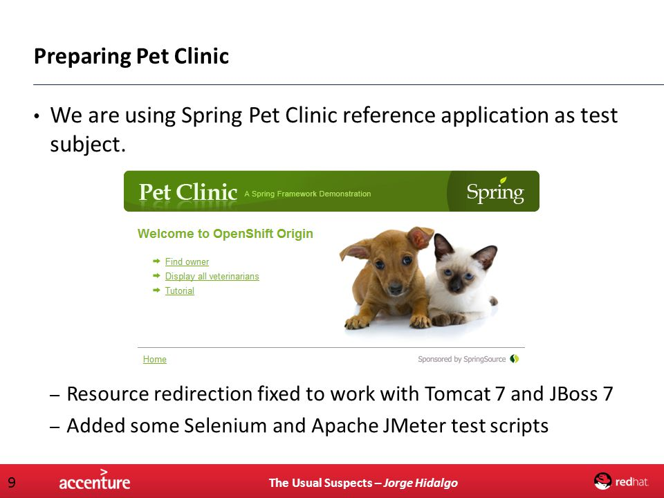 We are using Spring Pet Clinic reference application as test subject.