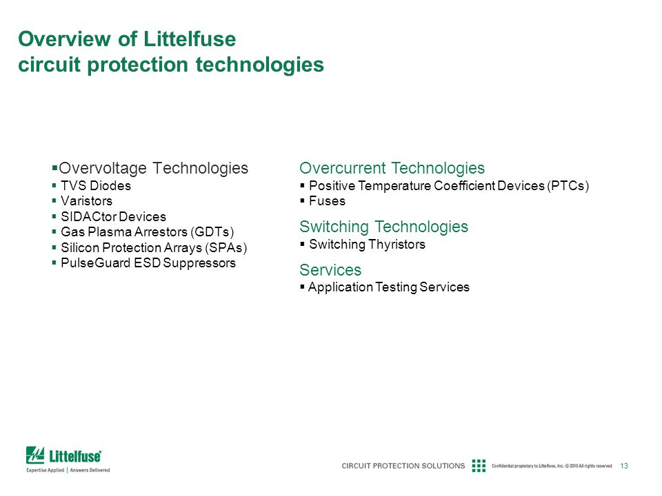 Overview of Littelfuse circuit protection technologies
