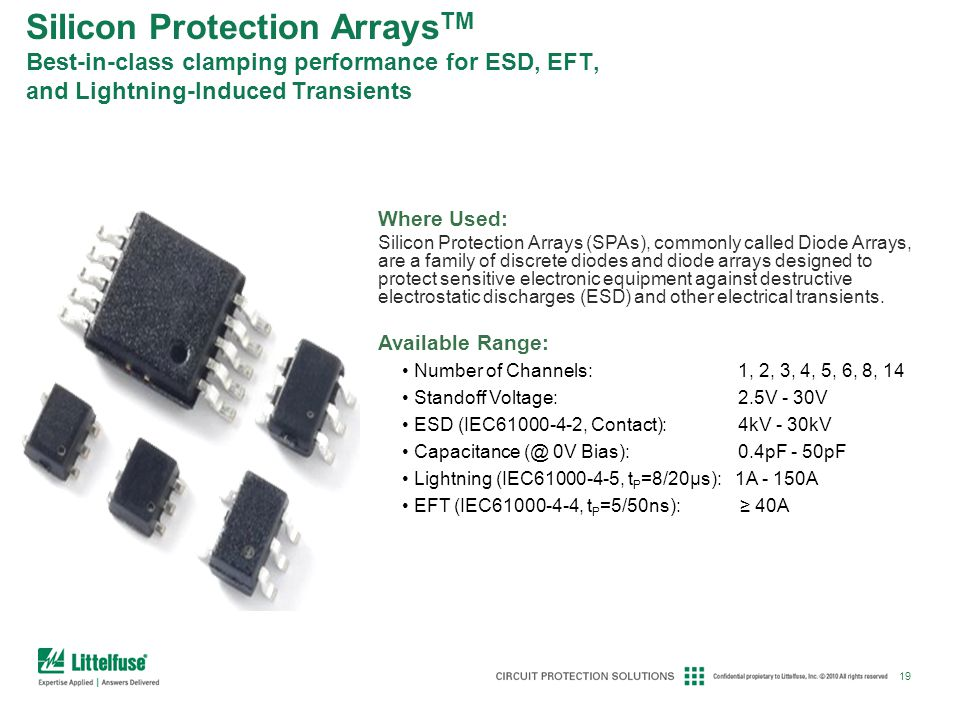 Silicon Protection ArraysTM Best-in-class clamping performance for ESD, EFT, and Lightning-Induced Transients