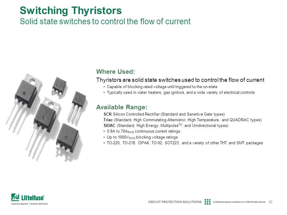 Switching Thyristors Solid state switches to control the flow of current