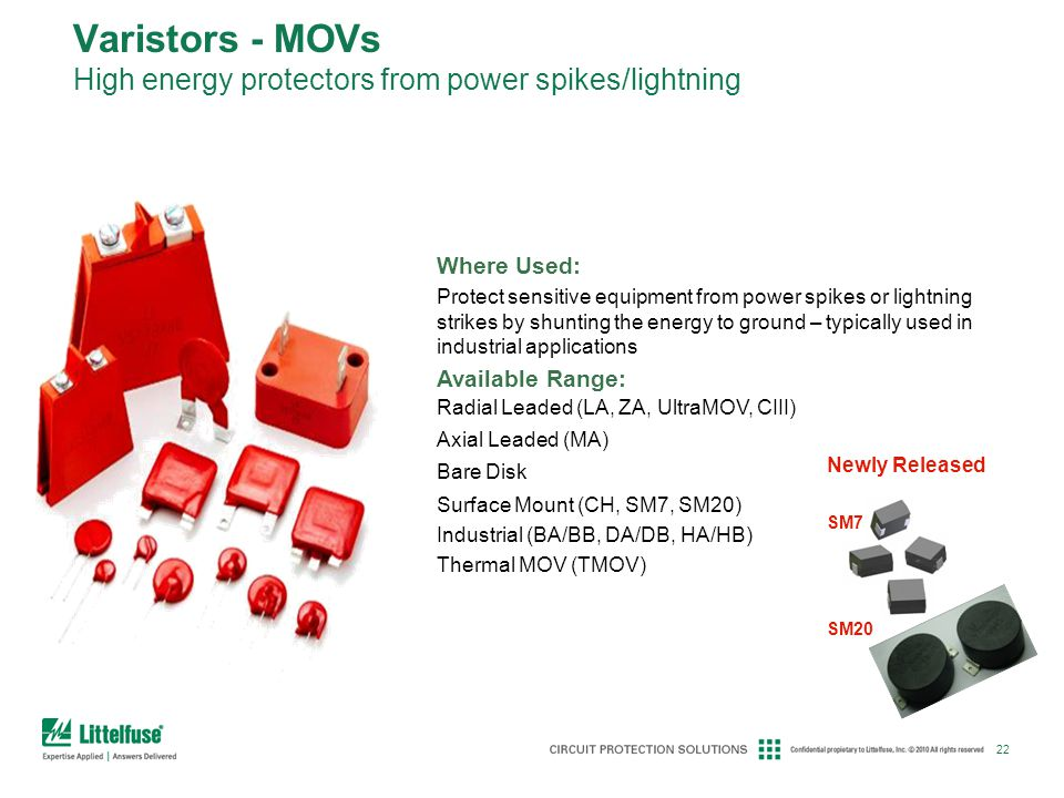 Varistors - MOVs High energy protectors from power spikes/lightning