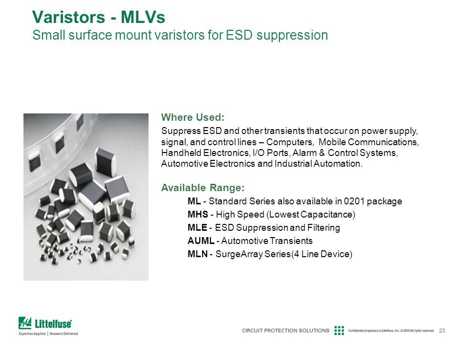 Varistors - MLVs Small surface mount varistors for ESD suppression
