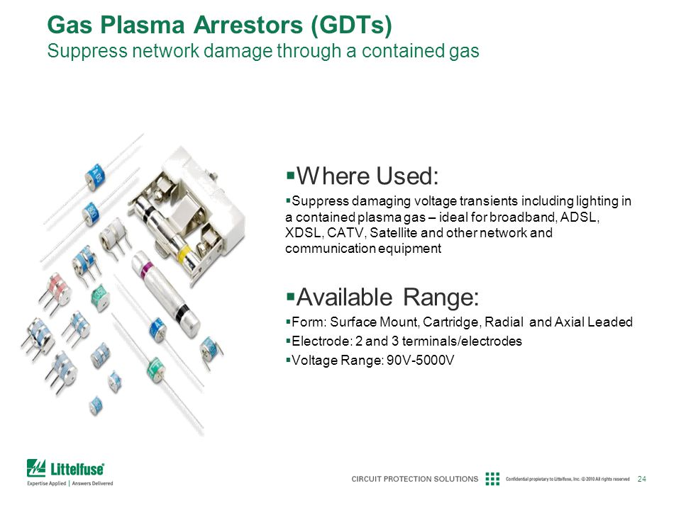 Gas Plasma Arrestors (GDTs) Suppress network damage through a contained gas