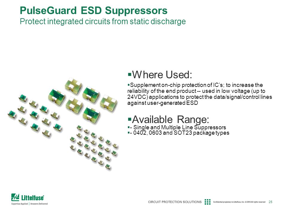 PulseGuard ESD Suppressors Protect integrated circuits from static discharge